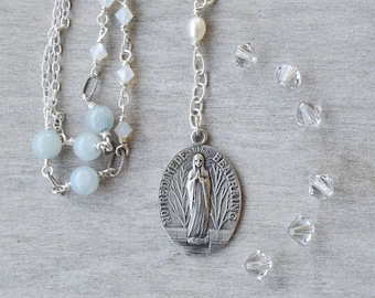 Religious Catholic jewelry in a Blessed Mother Mary Necklace, Our Lady of  Beauraing