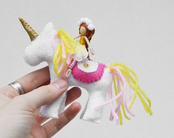 Felt Unicorn and Fairy Doll in White, Pink, and Yellow Felt, a perfect Waldorf Unicorn Toy Gift