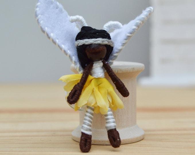 Black Lightning Bug Fairy Doll, Waldorf Fairies, Miniature Fairy Doll