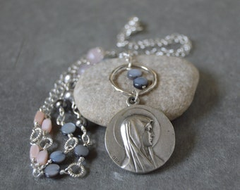 Religious Catholic Jewelry, Blessed Mother Mary Necklace for women, Our Lady of Lourdes, Godmother gift
