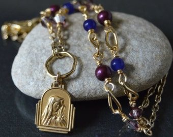 Religious Catholic Jewelry for women, Blessed Virgin Mary Necklace, Our Lady of Sorrows Vintage Medal