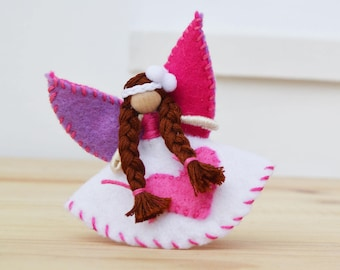 Valentine Fairy Doll in White and Pink Felt, a Miniature Waldorf Fairy Doll perfect for Valentine's Day