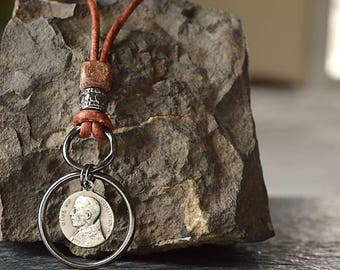Catholic Mens' Necklace, Religious Men's Jewelry, Pius XII, Saint Peter, Confirmation Gift, Sponsor, Godparent gift, Catholic Baptism