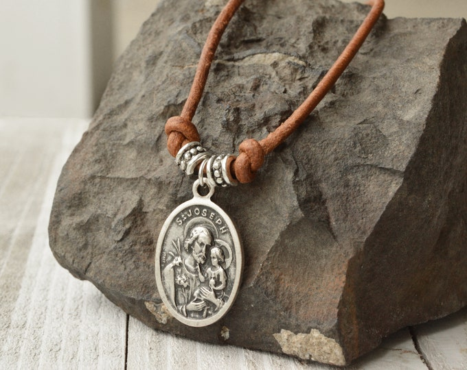 Catholic men's leather cord necklace with a vintage Saint Joseph medal, Religious Catholic jewelry for men, Confirmation necklace for boy,