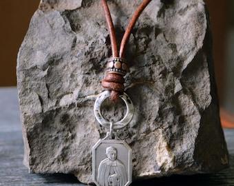Saint Mutien-Marie Wiaux, Religious Catholic Necklace, Signum Fidei, Confirmation Saint Necklace, Men's Catholic Jewelry, Catholic Teacher
