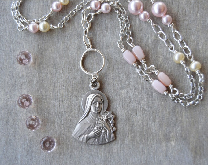 Catholic jewelry in a rose pink Saint Therese Medal Necklace, Confirmation gift for girl, Catholic Godmother
