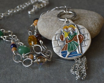 Boho Religious Jewelry in a long Catholic Necklace with a vintage Saint Christopher and Saint Joseph Medal