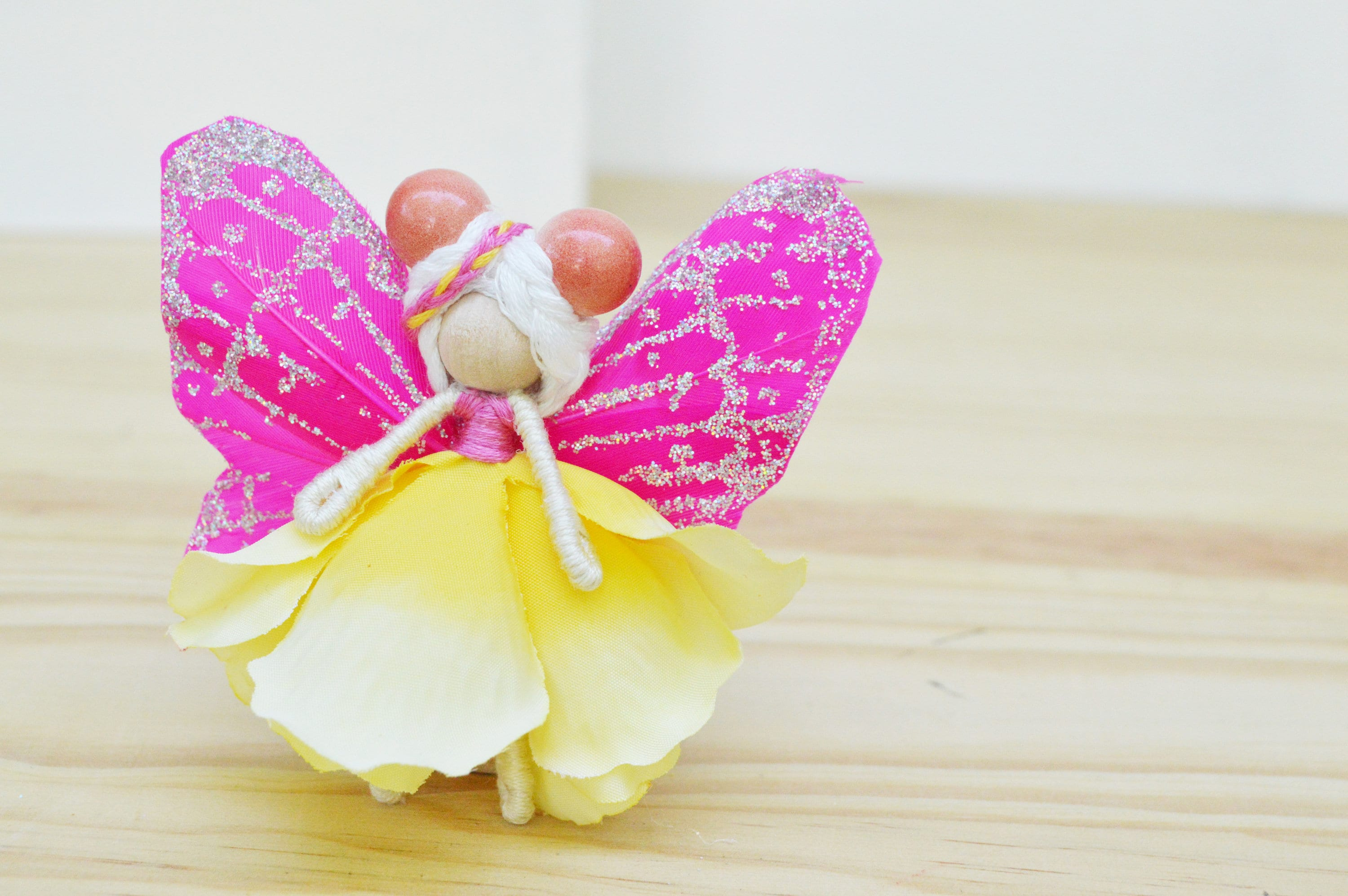 Flower Fairy Doll In Yellow And Pink A Miniature Waldorf Fairy Doll