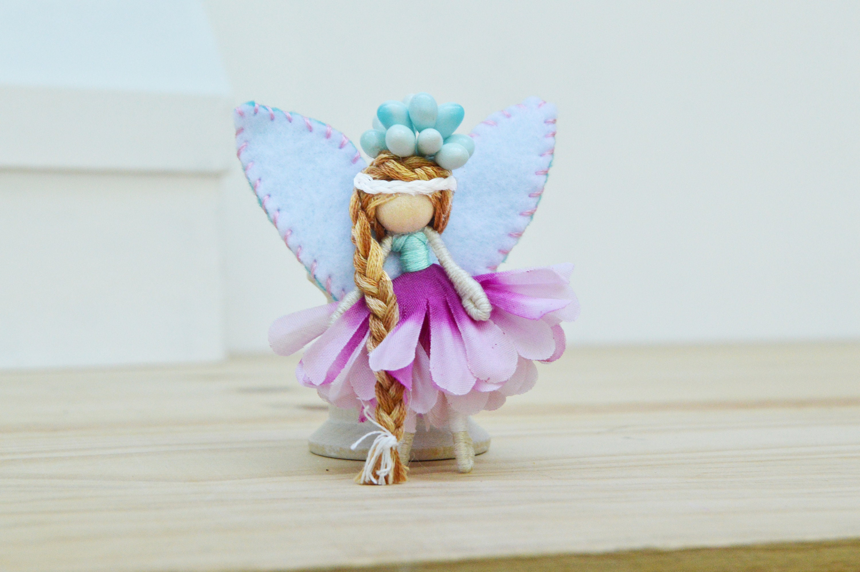 Waldorf Fairy Doll In Pink And Teal A Perfect Miniature Flower