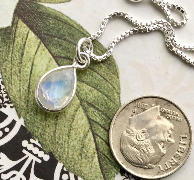 Moonstone Necklace June Birthstone 16\u201d Sterling Silver Box Chain and Setting Bezel Rainbow Charm Charleston Dainty Minimalist Necklace