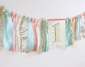 Coral, Mint and Gold Ribbon Banner 3 ft | Coral, Peach, Mint, Ivory and Gold First Birthday High Chair Banner