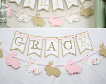 Floral Bunny Birthday Banner and Garland   Garden Floral Bunny First Birthday