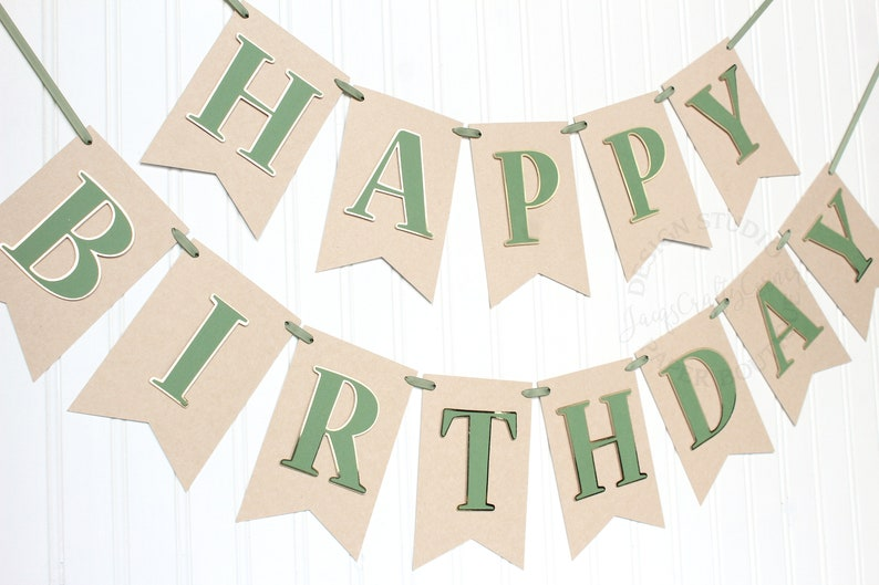 Light Kraft and Gold Baby Boy Birthday Banner Greenery First Birthday Olive Green Woodland Theme Party Decorations