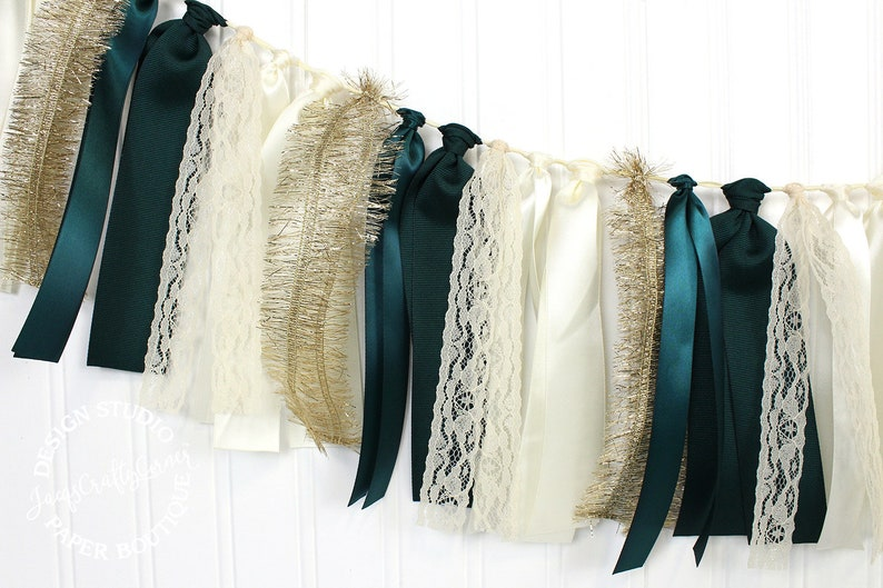 Bridal Ribbon Garland Forest Green Hunter Green and Gold Fall Wedding Decoration Pearl White and Gold