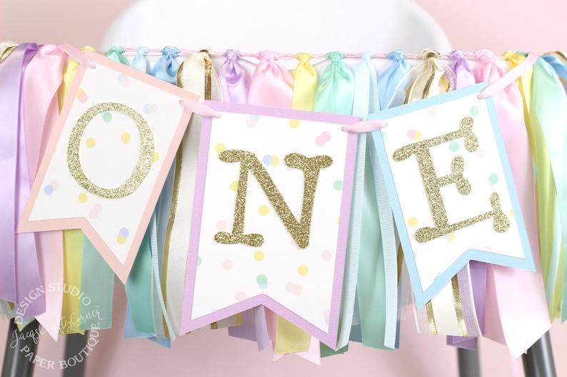 Pastel Rainbow Highchair Birthday Banner  Unicorn First image 0