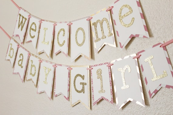 pink and gold baby shower banner welcome baby girl 2 0 etsy