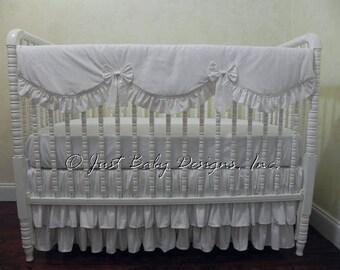 White Crib Bedding Set Gabrielle Girl Baby Bedding Neutral Baby Bedding Crib Rail Cover Ruffled Skirt White Baby Bedding