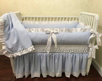 seersucker baby bedding boy baby bedding blue seersucker crib bedding baby boy crib bedding 1 4 pieces - Baby Bedding For Boys