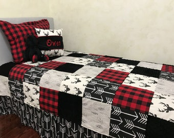 kid bedding twin full queen size bedding boy bedding coverlet deer red and black buffalo plaid - Boy Bedding