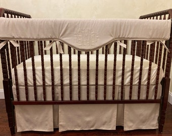 Baby bedding nuetral Crib set White and taupe linen DEPOSIT Down payment