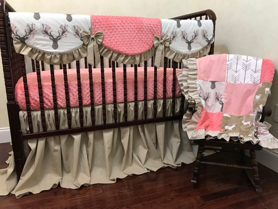 Girl Deer Baby Bedding Set Corinna Coral Woodland Nursery Etsy