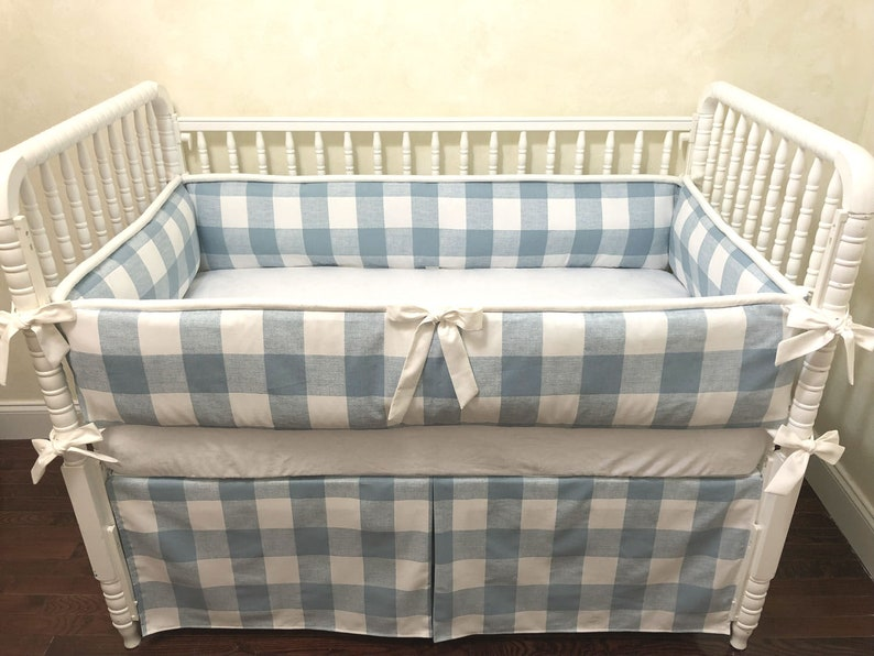 Image result for BLUE PLAIDS BABY COT