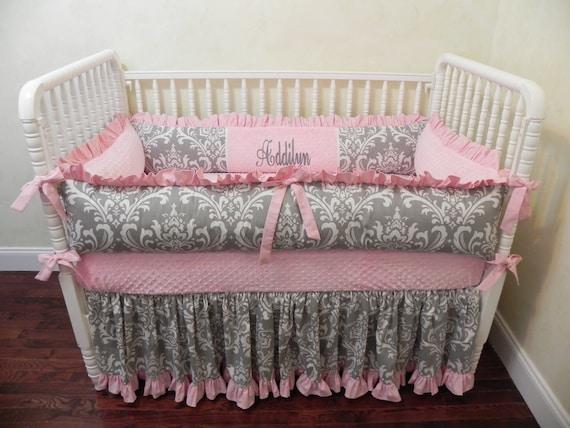 Baby Girl Crib Bedding Set Addilyn, Light Pink Crib Bedding Set
