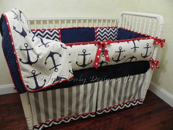 Nautical Baby Bedding Sets.Nautical Baby Bedding Set Sebastian Boy Baby Bedding Anchor Crib Bedding Navy Red Gray Baby Bedding