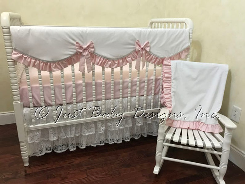 Pale Pink And White Crib Bedding Set Girl Baby Bedding Etsy