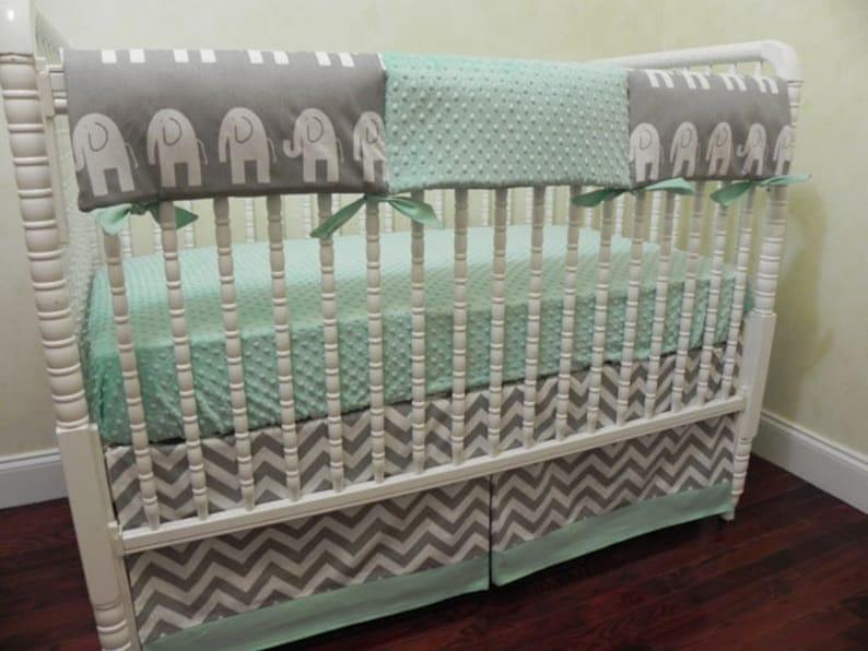 a81f14dbc7484 Mint and Gray Elephant Crib Bedding Set Brevyn - Gender Neutral Baby  Bedding, Boy Crib Bedding, Girl Crib Bedding, Elephant Nursery Bedding