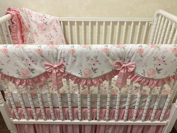 BLUSH Baby Bedding READY SHIP Girls Fitted Crib Sheets Blush Pink Green Nursery Babiease Bedding Etsy Nursery Bedding Floral Pink Nursery