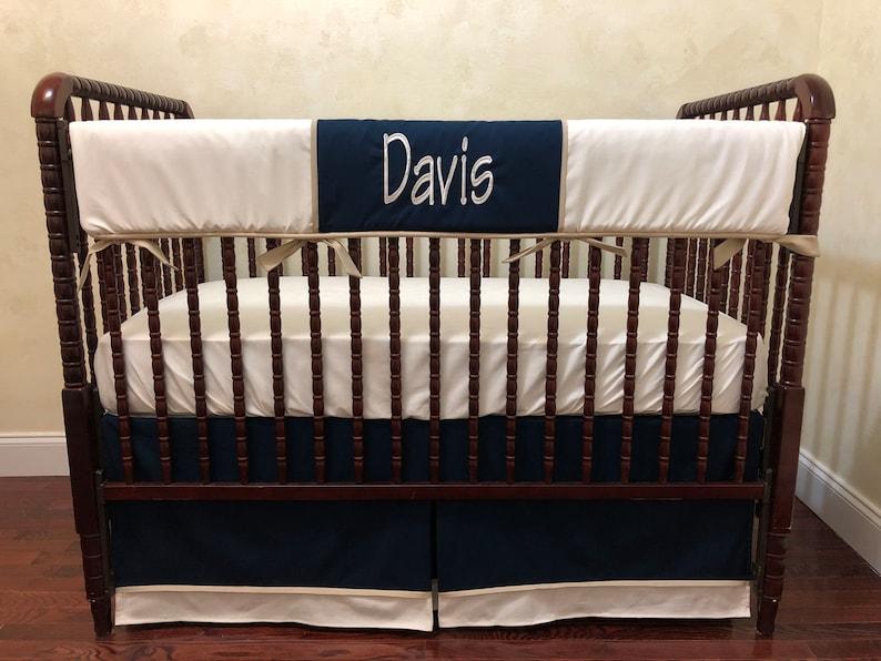 Boy Baby Bedding Set Davis  Baby Boy Crib Bedding, Ivory, Navy, Tan Crib  Bedding