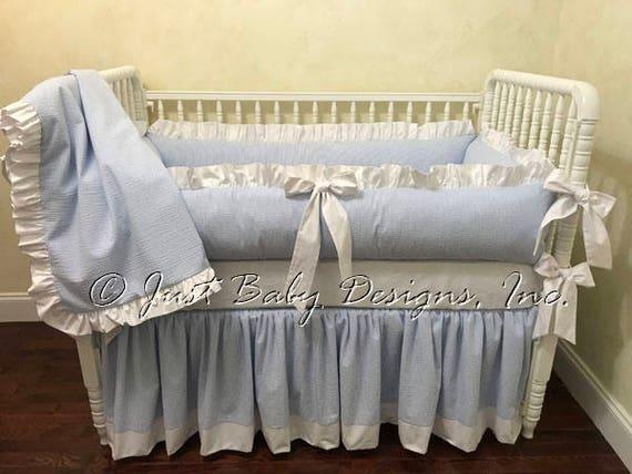 Seersucker Baby Bedding Boy Baby Bedding Blue Seersucker Etsy