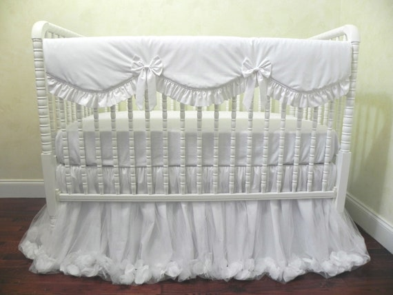 Baby Girl Crib Bedding Set Giselle White - White Baby Bedding, Princess  Baby Bedding, Ballerina Crib Bedding, Crib Rail Cover, 1 - 4 pieces