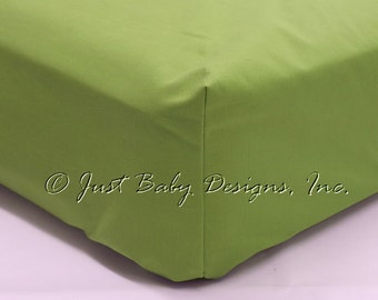 Fitted Crib Sheet - Lime Solid Cotton
