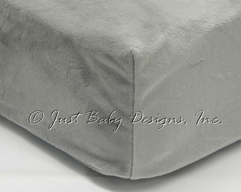 Fitted Crib Sheet - Minky Smooth Gray