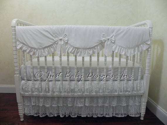 White Lace Crib Bedding Set Shobai Girl Baby Bedding White Etsy