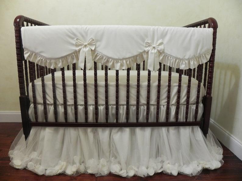 Baby Girl Crib Bedding Set Giselle Ivory   Ivory Baby Bedding, Cream Crib  Bedding, Bumperless Crib Bedding, Princess Baby Bedding, Railcover