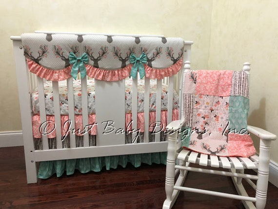 Mini Crib Bedding Deer Mini Crib Bedding Woodland Fawn Girl Etsy