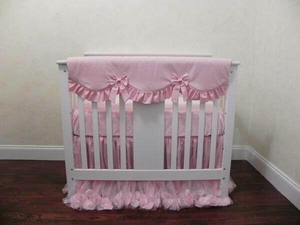 Mini Crib Baby Bedding Set Giselle Pink Pink Mini Crib Etsy