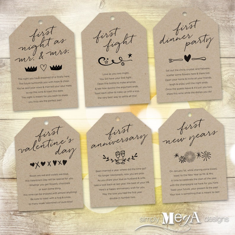 d8afa71df70 Marriage Milestone Wine Basket Tags Set of 6 Bridal Shower