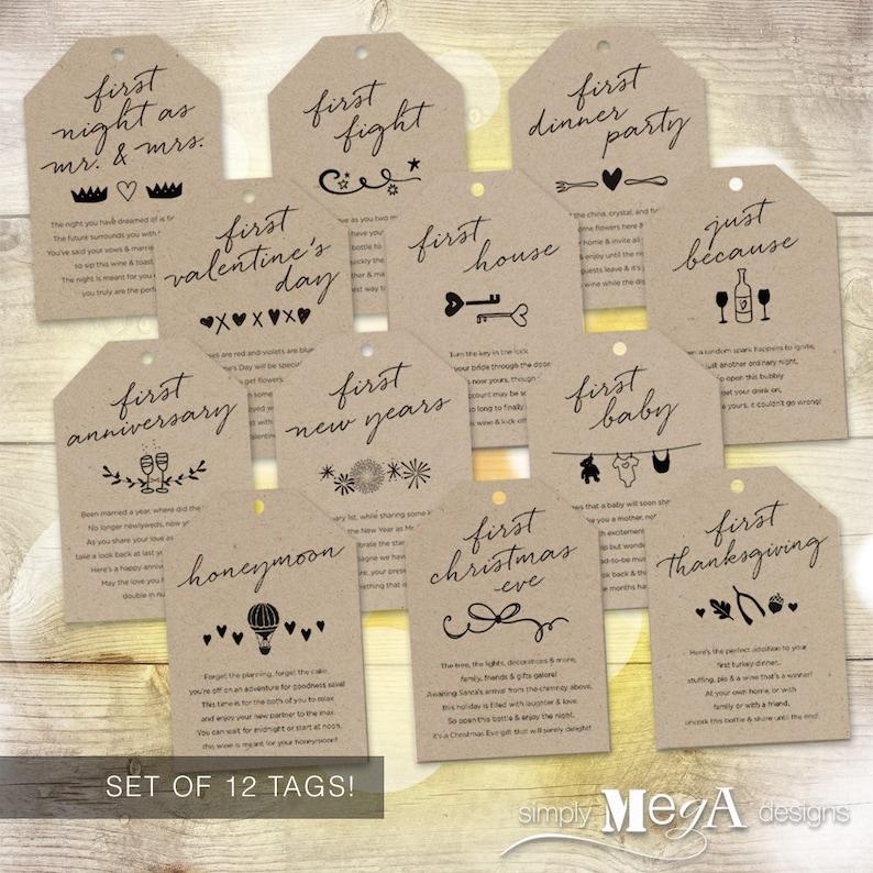 Marriage Milestone Wine Basket Tags  Set of 12  Bridal image 0