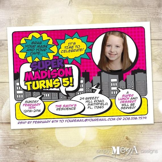 Girls Superhero Invitation Birthday Girl Invite Comic Customizable 5x7 Printable File