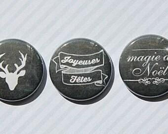 "3 badges 1 ""table black Christmas"