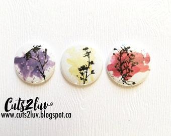 """3 badges 1 """"wild flowers"""