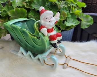 Napco Santa Sleigh Vintage Christmas planter candy dish no Reindeer Oranament Decoration