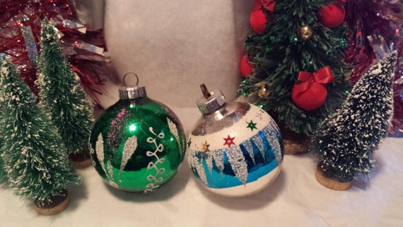 Vintage Gdr Christmas Ornaments Blown Glass Tree Decorations Etsy