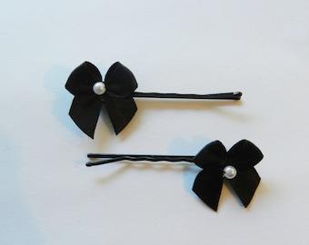 Black Bow Bobby Pin