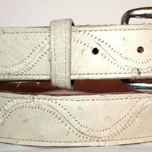 1 38 wide Brown Ostrich Leg Skin /& Leather Belt sizes 24 to 38