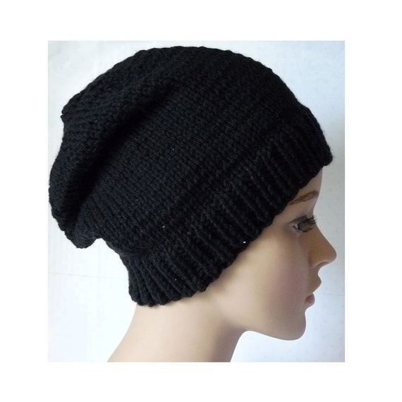 Knitting Pattern Knit Slouchy Beanie Hat Pattern Womens Knit Etsy